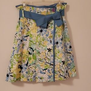 Summer print wrap skirt